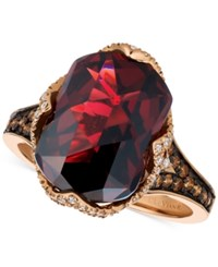 Le Vian Chocolatier Pomegranate Garnet 6 9 10 Ct. T.W. And Diamond 3 8 Ct. T.W. Ring In 14K Rose Gold Red