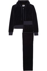 Vetements Juicy Couture Embroidered Cotton Blend Velvet Tracksuit Midnight Blue