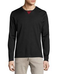Salvatore Ferragamo Mercerized Silk Cotton Long Sleeve T Shirt With Contrast Trim Navy
