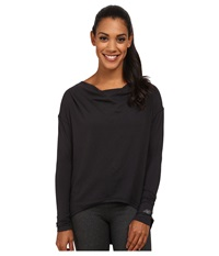 New Balance Draped Layer Long Sleeve Top Black Women's Long Sleeve Pullover