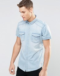 Esprit Short Sleeve Denim Shirt In Light Wash Light Wash Blue