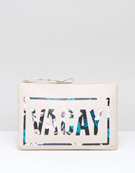 New Look Vacay Zip Top Travel Bag White Pattern