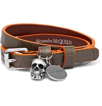Alexander Mcqueen Leather And Silver Tone Wrap Bracelet Green