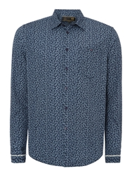 Merc Ditsy Floral Classic Fit Long Sleeve Shirt Navy