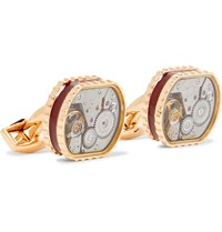 Tateossian Gear Rose Gold Plated And Enamel Cufflinks Rose Gold