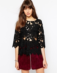Aryn K 3 4 Sleeve Top With Laser Cut Out Detail Black