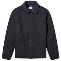 Save Khaki Sherpa Lined Warm Up Jacket Blue