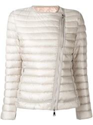 Moncler Collarless Fitted Jacket Nude Neutrals