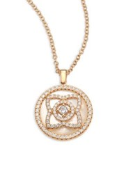 De Beers Enchanted Lotus Reversible Diamond And Mother Of Pearl Pendant Necklace Rose Gold