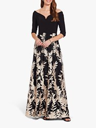 Adrianna Papell Jersey Embroidered Dress Black Cream
