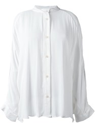 Lost And Found Ria Dunn Collarless Button Down Shirt White