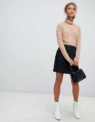 New Look Leather Mini Skirt In Black