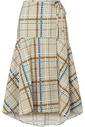 Ganni Tiered Checked Cotton Poplin Wrap Skirt Light Blue