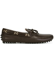 Car Shoe Gold Tone Trim Loafers Brown