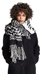 Free People Mile High Fringe Scarf Black And White Combo