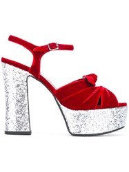 Saint Laurent 'Candy 80' Bow Sandals Red