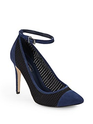 Bcbgeneration Mesh And Suede Ankle Strap Pumps Dark Blue