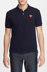 Comme Des Garcons Men's Play Pique Polo With Heart Applique