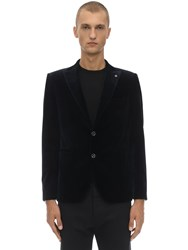Tagliatore Stretch Velvet Single Breasted Jacket Navy