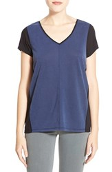 Women's Halogen Sandwashed Front Colorblock Tee Navy Black Colorblock