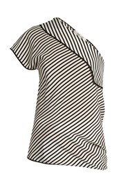 Diane Von Furstenberg One Shoulder Silk Crepe De Chine Top Black White