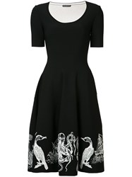 Alexander Mcqueen Embroidered Flared Dress Women Nylon Polyester Spandex Elastane Viscose M Black
