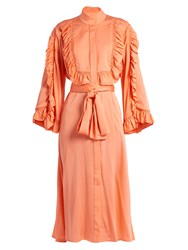 Ellery Olga Ruffled Silk Satin Midi Dress Pink