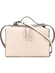 Jil Sander Contrast Piping Shoulder Bag Nude And Neutrals