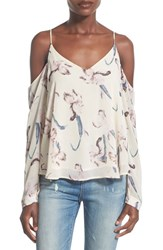 Women's Astr Cold Shoulder Long Sleeve Blouse Cream Blush
