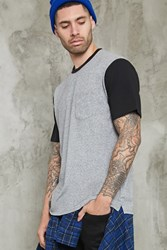 Forever 21 Colorblock Sleeve Tee Grey Black