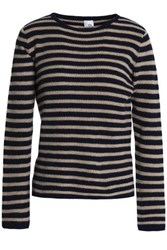 Iris And Ink Shaney Striped Cashmere Wool Blend Sweater Blue