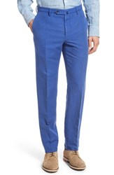 Men's Incotex 'Benn' Linen Blend Flat Front Trousers Electric Blue
