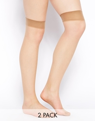 Pretty Polly Comfort Top 2Pack Knee Socks Nude