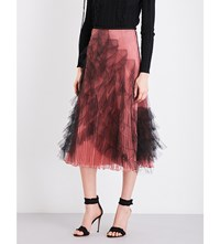 Valentino Pleated Silk And Tulle Midi Skirt Nero Old Rose