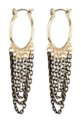 14Th And Union Two Tone Draped Chain Hoop Earrings Metallic