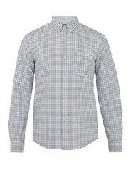 A.P.C. Mick Checked Cotton And Linen Blend Shirt Blue