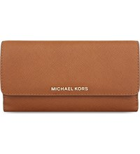 Michael Michael Kors Jet Set Tri Fold Saffiano Leather Wallet Luggage
