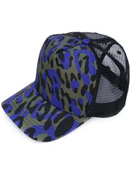 Dsquared2 Leopard Print Baseball Cap Men Polyester One Size Black