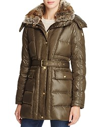 Vince Camuto Belted Faux Fur Trim Anorak Olive