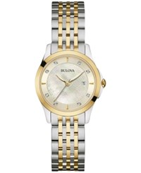 Bulova Women's Diamond Accent Two Tone Stainless Steel Bracelet Watch 27Mm 98P148