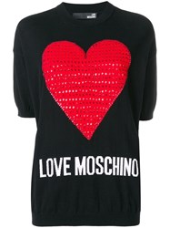 Love Moschino Heart Embellished Sweater C74 Black Red