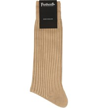 Pantherella Ribbed Cotton Blend Socks Lt Khaki