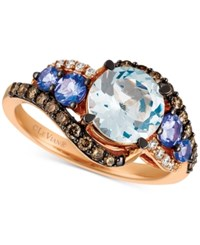 Le Vian Aquamarine 1 1 2 Ct. T.W. Tanzanite 1 2 Ct. T.W. And Diamond 3 8 Ct. T.W. Ring In 14K Rose Gold