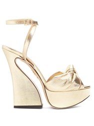 Charlotte Olympia Vreeland Lame Sandals Gold