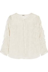 Talitha Posy Embroidered Cotton And Silk Blend Top
