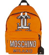 Moschino Bear Print Quilted Backpack Orange