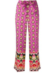 Etro Multi Prints Belted Trousers Pink Purple