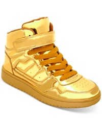 Madden Girl Slick Ultra Metallic High Top Sneakers Women's Shoes Gold Metallic
