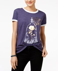 Mighty Fine Disney Juniors' Beauty And The Beast Graphic T Shirt Heather Navy White