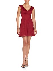 Saks Fifth Avenue Red Laser Cut Sleeveless A Line Dress Wine